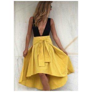Zara Yellow Midi Waist Tie Skirt